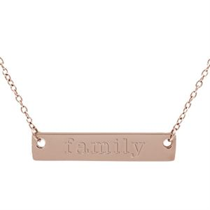 Picture of Rose Gold 'Family' Bar Necklace - 16""